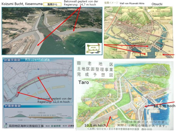 Betonwälle - 14,5 m hoch - geplant als Küstenschutz